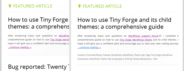 Tiny Framework WordPress theme - clean look