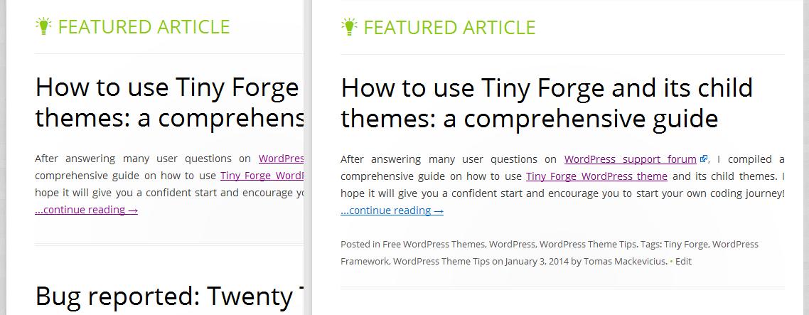 Tiny Forge WordPress theme - clean look